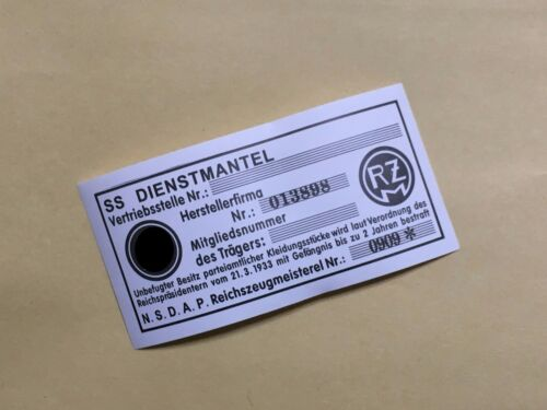 WWII German Elite RZM Uniform Tag Repro 10  pieces