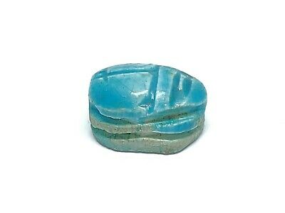 Estate Find Blue Egypt Faience Steatite Carved Scarab Cartouche