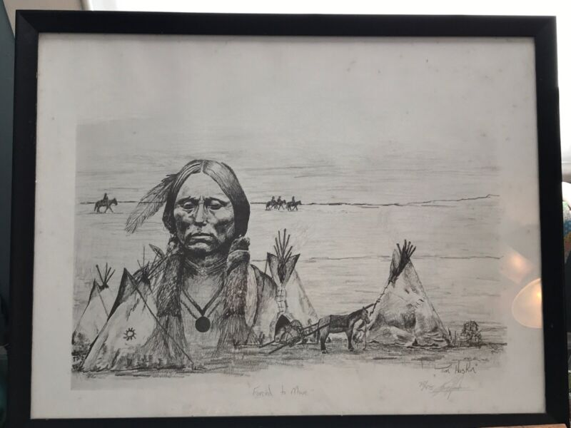 "Pencil Drawing ""Forced To Move"" By Artist Tim Haskin Signed 21X27 1970's IDAHO"