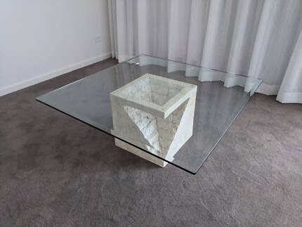 Coffee Table Glass With Decorative Fossil Stone Base