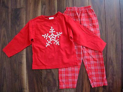 Schlafanzug Weihnachten rot kariert Schneeflocke Mädchen 116 Pyjama Langarm