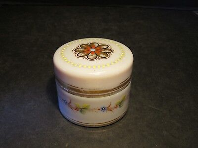 Old Opaque Lavender Round Hand Decorated Ladies Dresser Trinket Box With Lid