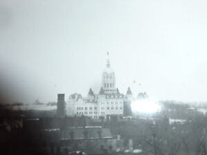 c1890-HARTFORD-CT-city-scape-view-B-W-photo-from-GLASS-negative-STATE-CAPITOL