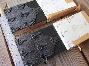 2 Vintage CEDAR WAXWING PYGOSTYLES original wood print block bird bones skeleton