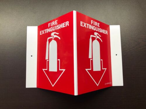 NEW 5 X 6 (3-D) RIGID PLASTIC ANGLE FIRE EXTINGUISHER PICTURE SIGN