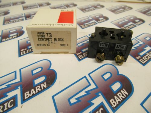 Cutler Hammer 10250T3, Series B1, 2 N.C. Contact Block- NEW-B