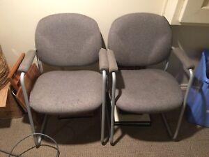 2 grey chairs