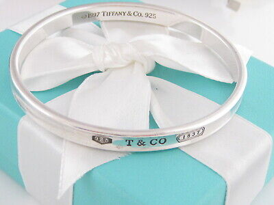 721b0d307 Rare Auth Tiffany & Co Silver 1837 Bangle Bracelet Pouch Included 7.5