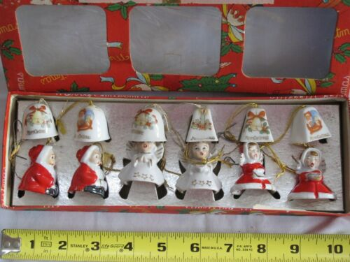 Set of 12 mini Vintage Porcelain Bell Ornaments Japan Original Box   Mid Century