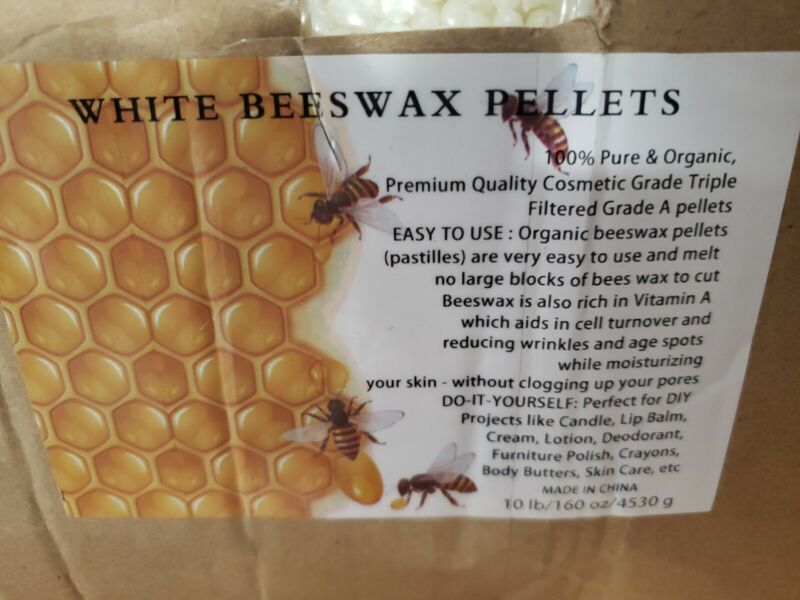 Howemon White Beeswax Pellets 10 Lb 100% Pure Natural Triple Filtered For Skin