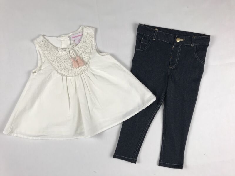 Tommy Bahama Toddler Baby kids Girl 2pc Set Top Dress Pants Jeans Size 24 Months
