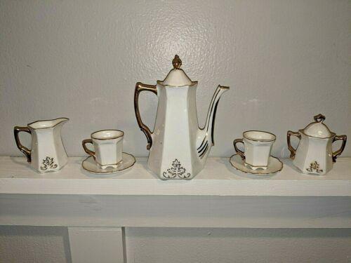 7 Piece Vintage Porcelain Childs Tea Set With Gold Trim