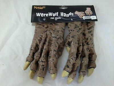 Werewolf Costume Spirit Halloween (-SPIRIT- WEREWOLF HANDS PVC BROWN HANDS COSTUME)