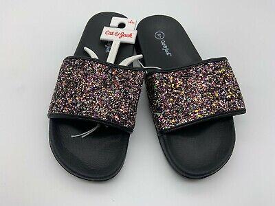 Cat & Jack Girl Sandals Sz L (4-5) Footwear Casual Slip On Glitter Flat Black Girl Black Footwear