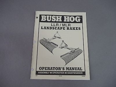 Bush Hog  Tractor Attachment Llr Mlr Landscape Rakes Operators Manual