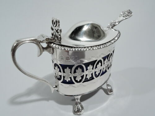 George V Mustard Pot - Antique Neoclassical Condiment - English Sterling Silver