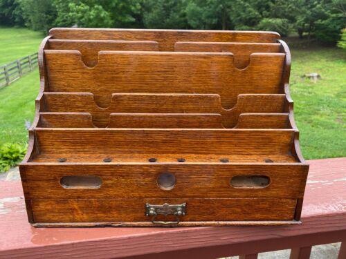 Antique 19thC English Oak Wood Desk Organizer/Letter Sorter Accessory Box
