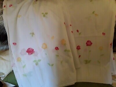 """The Home Store 2 fabric shower curtains white pink green yellow floral 70"""" x 70"""" for sale  Whitley Bay"""