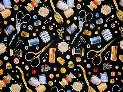 STITCH IN TIME SEWING QUILTING THEME FABRIC NOTION ELIZABETH STUDIO  BY THE YARD