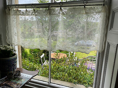 """Laura Ashley Vintage style cotton lace curtain panel 60""""/19""""Valance Readymade"""