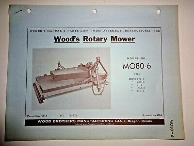 Woods Mo80-6 Rotary Mower Cutter Operators Owners Parts Manual Catalog 1-62