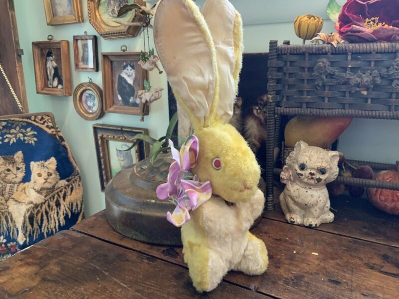 "Antique Vintage Mohair Stuffed Easter Bunny Rabbit 12.25"" Tall"