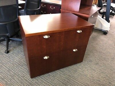 2dr 36w Lateral File Cabinet By Kimball Office Furniture In Cherry Wood Veneer