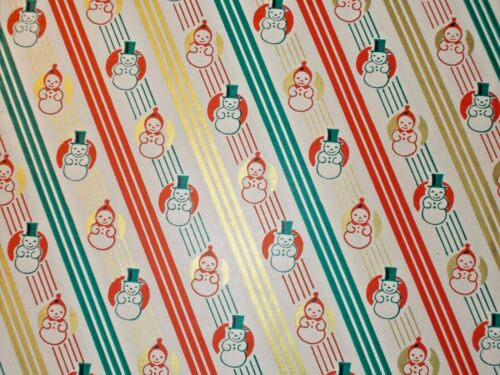 VTG MERRY CHRISTMAS WRAPPING PAPER GIFT WRAP 1960 RED GOLD GREEN SNOWMEN