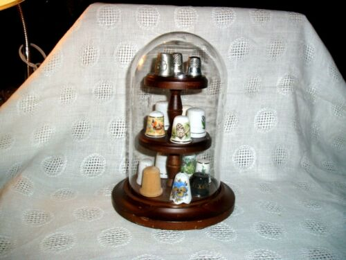 Vintage Lot of 15 Porcelain, Wood, Metal THIMBLES, w/Wooden Stand & Glass Dome