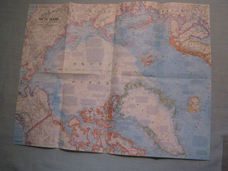 ARCTIC OCEAN MAP FLOOR CIRCLE NORTH POLE SEAFLOOR National Geographic 1971 MINT