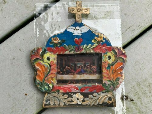 The Last Supper Patron Saint Mexican Metal Nicho Hand Painted 7x6.5x0.5 G17