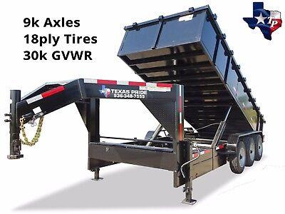 Brand New 7 X 16 Gooseneck Triple Axle Dump Trailer 30k Gvwr W 24 Sides