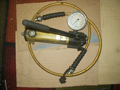 Enerpac P-141 Hydraulic Hand Pump W10 K Dial Gage And 6 Flex Hose Quick Conn