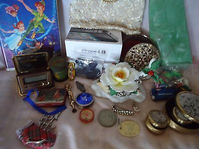 3 VINTAGE ANTIQUE TO NOW JUNK DRAWER LOT- A LOT OF STUFF! JEWELRY ,WATCHES,PURSE
