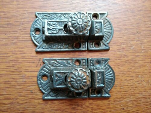 Two Antique Fancy Ornate Victorian Iron Cabinet Latches c1885