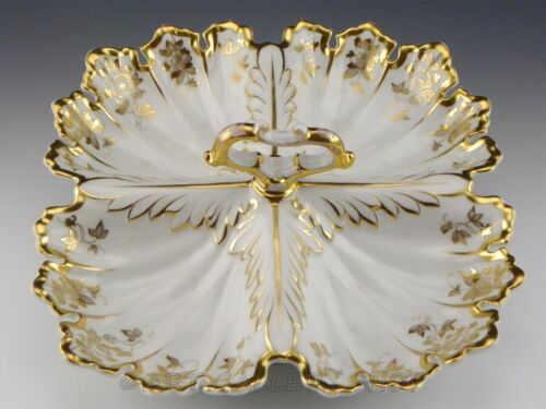 Antique Carl Tielsch TPM KPM Germany DIVIDED DISH TRAY With HANDLE GOLD GILDED