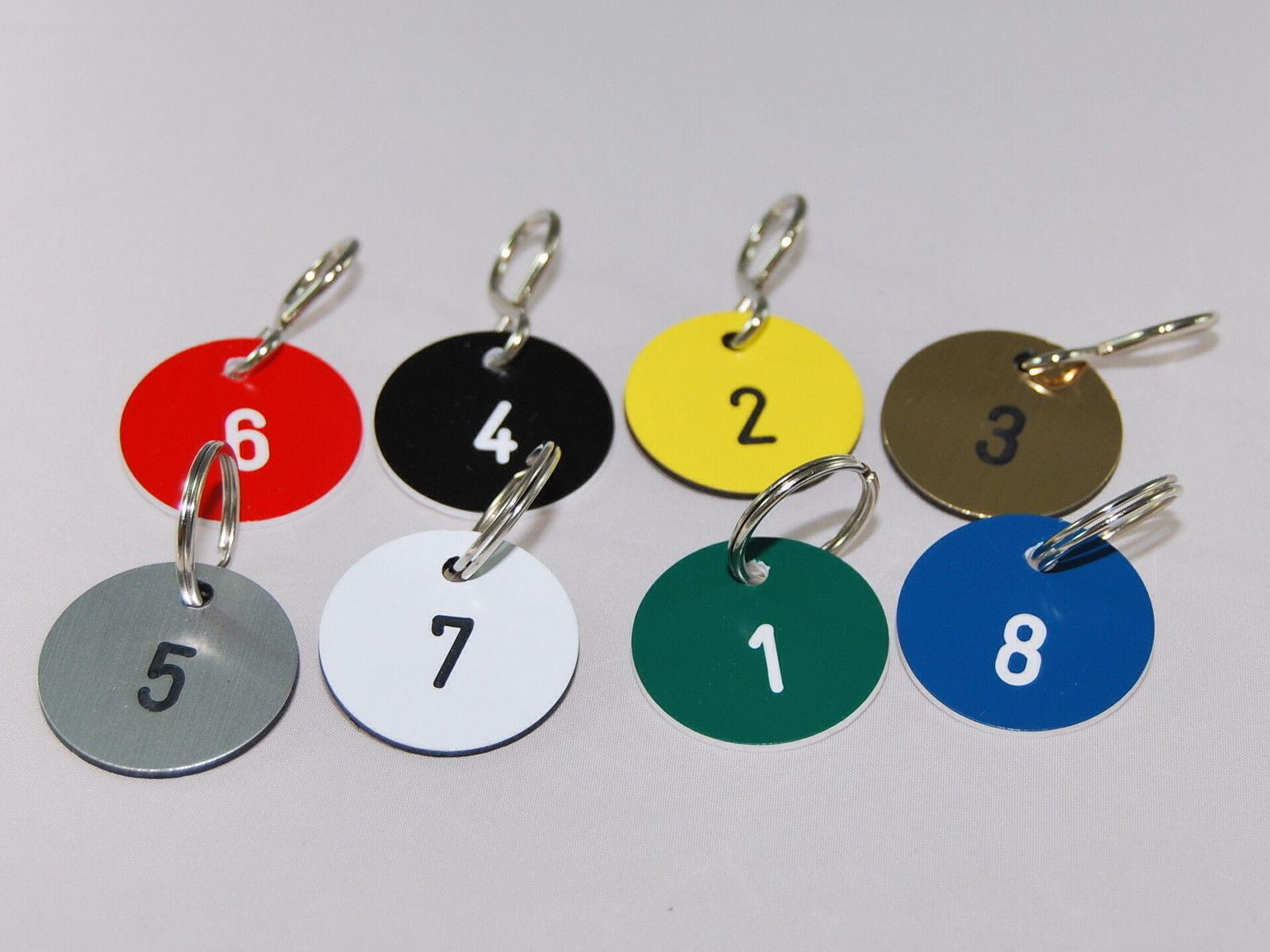 Schlüsselanhänger,Zahlenmarken rund , Ring,S-Haken oder Selbstklebend 10Stück