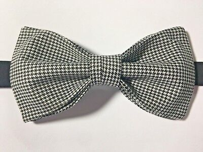 Houndstooth Bow Tie (Custom Mens Houndstooth Black/White Bow Tie Pre-tied Adjustable Prom)