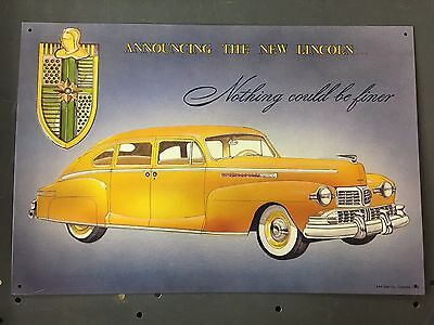"""Vintage Style AAA Tin Sign - New Lincoln Nothing Could Be Finer 16"""" x 12"""""""