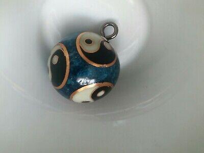 Ying yang Klangkugel Metall Anhänger Gewicht 36 g Blau Creme Schwarz Gold