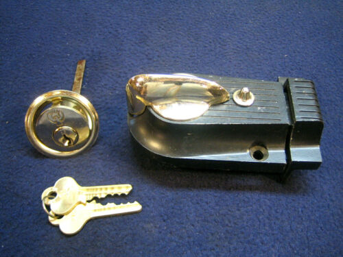 Vintage Art Deco style Rim Deadbolt Lock with Cylinder Lock & keys - NOS Eagle