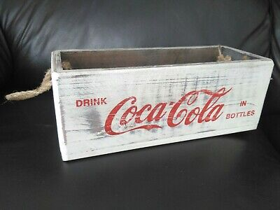 Wooden Coca Cola box with rope handle. New.