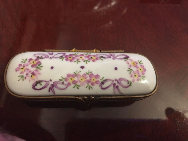 Limoges Peint Main Oblong Trinket  Box Cherry Blossom
