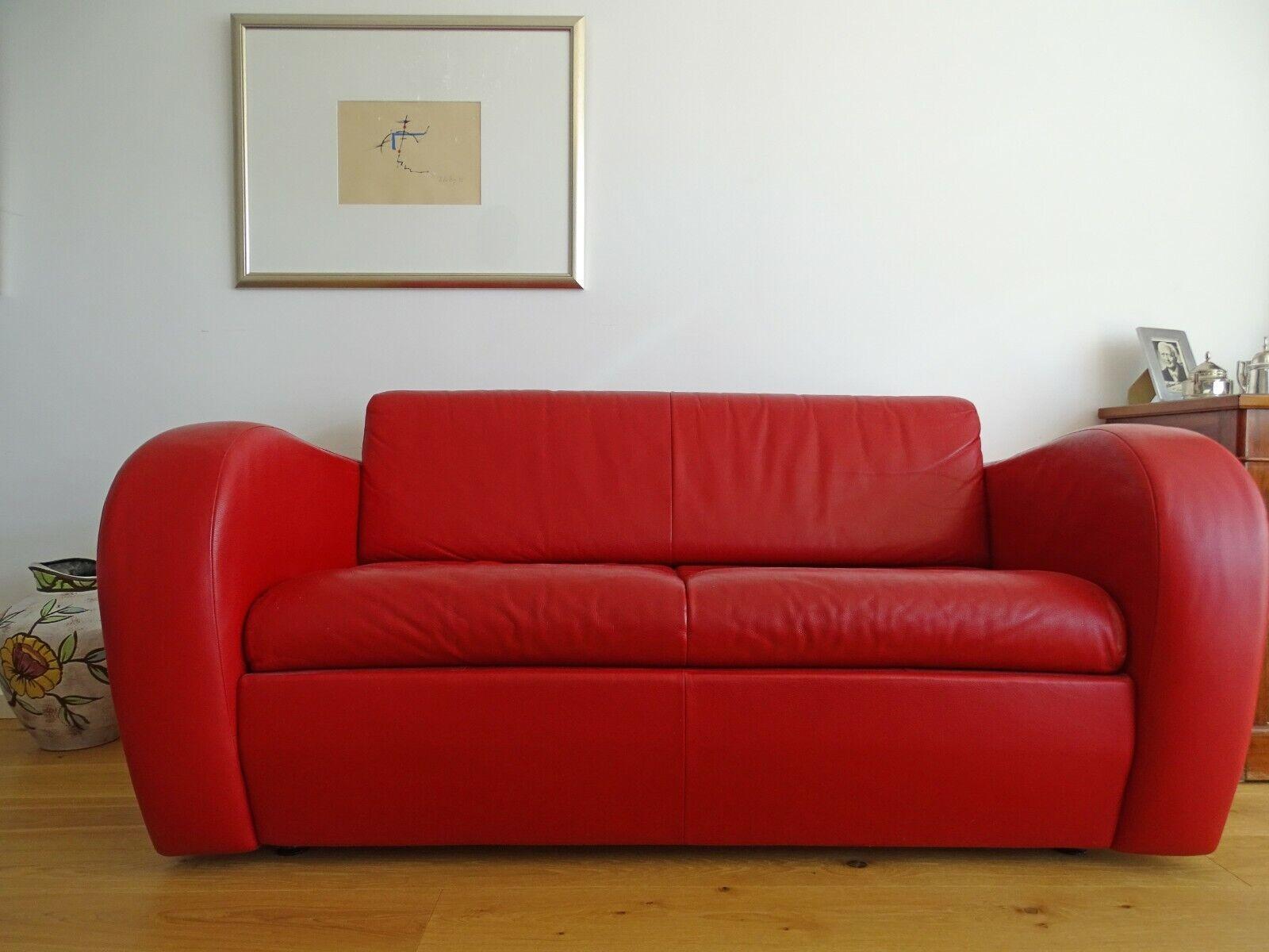 Rotes Schlafsofa 2 sitzer aus Leder