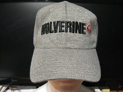 Wolverine Brand Gray Cap 6 Panel Hat / Raised Embroidered Logo / Adjustable -