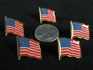 Lot Of 5 American Flag Patriotic Pin, Lapel Vest Hat Pin,Tie Tack. USA