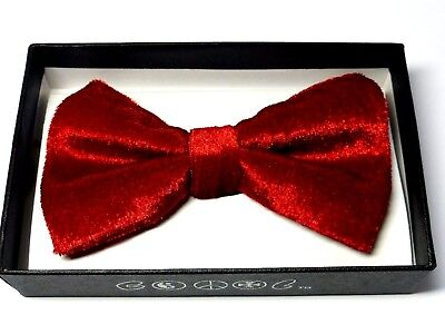 - New Tuxedo PreTied Red Velvet  Bow Tie Satin Adjustable Bowtie