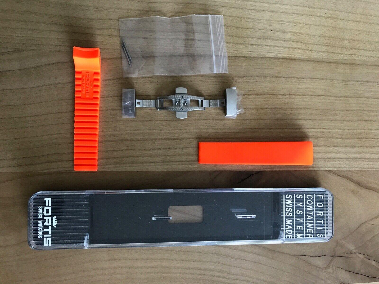 FORTIS Silikonband  mit Faltschließe,  20mm für B-42/ F-43, Orange in Box