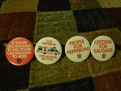 """Pizza Hut (1986) LOT of 4 ~ BUTTONS_PINS ~ """"VOTE!"""" Pepperoni or Sausage ~ HTF"""