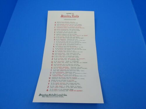 Roger Smith reprint of c1919 Stanley Rule & Level Co Alphabet postcard